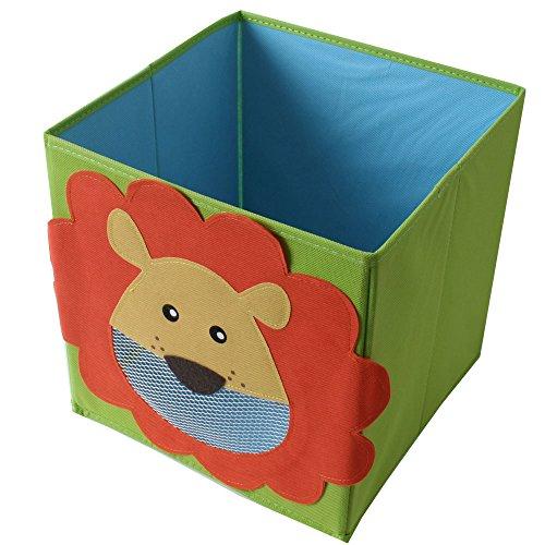 4 Piezas TE-Trend Textil Caja plegable Caja de Juego Motivos animales Rana Mono Búho Kuh Almacenamiento Aparador para Juego plegable 28 x 28 x 28 cm