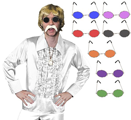 ILOVEFANCYDRESS 60iger 70iger KOSTÜM VERKLEIDUNG ZUBEHÖR Disco Retro Hippie Set= RÜSCHEN Hemd+Kette+Hippie Brille+Blonde PERÜCKE+Schnurrbart=Hemd/Weiss-MEDIUM+ Brille/GRÜN