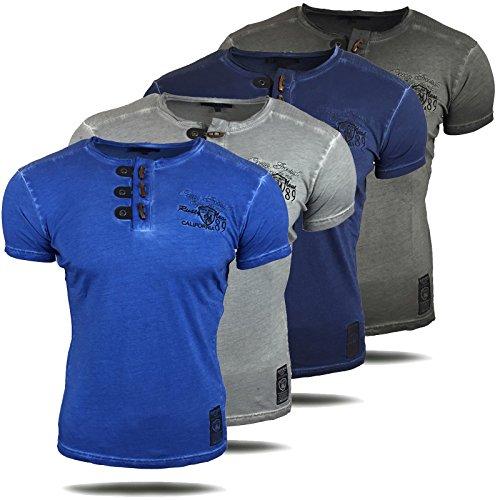 Herren T-Shirt Kurzarm Rundhals Sommer Blau Sax Grau Anthrazit A1-RN6789-Y Anthrazit