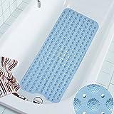 COCOCITY Tappetino per vasca antiscivolo - Tappetino antiscivolo per doccia extra lungo con Ventose - Bath mat universale per bagno, 40×100cm (blu, bianco, rosato)