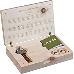 LAiMER Limited Edition Box for Her | Wooden Zebrano watch and Wooden Zebrano Earstuds with SWAROVSKI crystals | 100% natural product and Made in Italy