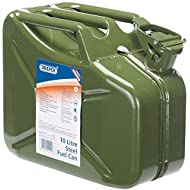 Draper Steel Jerry Can for Petrol or Diesel Fuel Green 10 Litre