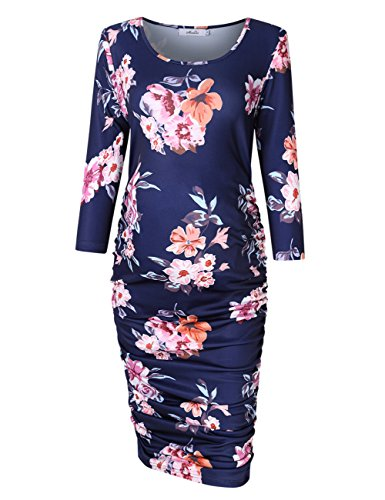 KoJooin Maternity Dress Round Neck Ruched Bodycon pregnancy dresses (XL, Navy blue )