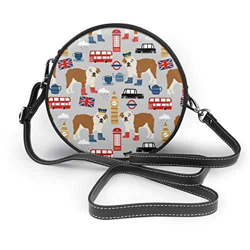 Handbags For Women,English Bulldog London Uk Bulldogs - Grey PU Leather Shoulder Bags,Tote Satchel Messenger Bags