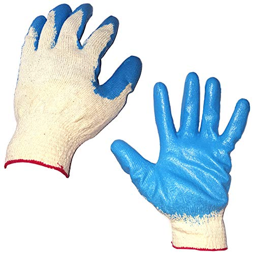10 Pairs Latex Rubber Palm Coated String Knit Glove, Hand protection gloves for workers/Mechanical maintenance, wire work, plumbing, construction site, electricity safety -