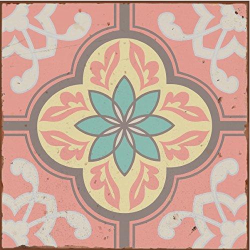 Wandfliesenaufkleber, Retro-Stil, Stil 8, viktorianisch, marokkanisch, Mosaikstil für Badezimmer, Küche, zum Aufkleben an der Wand, Größe 15,2 cm x 15,2 cm, Pastellblau, -grün, -gelb, rosa, 10 Stück