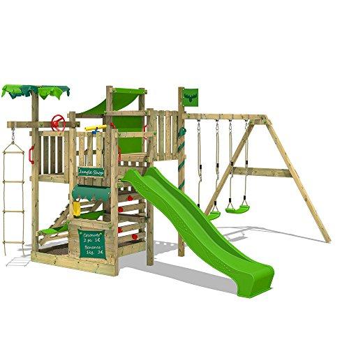 FATMOOSE Torre de escalada CrazyCoconut Club XXL Parque infantil de madera con columpio doble, hamaca y tobogán