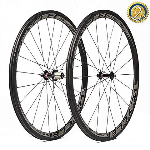 VCYCLE Nopea 700C Rennrad Carbon Laufrad Drahtreifen 38mm nur 1335g Shimano oder Sram 8/9/10/11 Speed