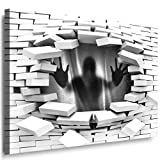 JULIA-ART 149wl7 XXXL - Format 150 - 100 cm Bild auf Leinwand Silhouette Schwarz 3D Illusion Mauer Loch Wand Deko ideen - Natur, Landschaft Bilder