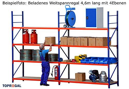 Lagerregal Schwerlastregal 6,9m breit, 2m hoch, 80cm tief, 4 Ebenen mit Holzböden – Weitspannregal Industrieregal - 5