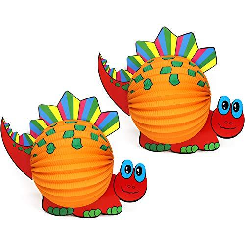 com-four® 2X Kinder Laterne aus Papier im Dino Design, Dinosaurier Lampion für Kinder, 40 x 31,5 cm (02 Stück - Dino)