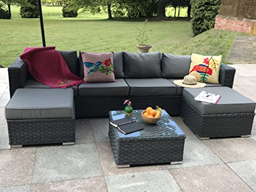 Yakoe Papaver 6-Seater Garden Furniture Patio Conservatory Rattan Corner Sofa Set with Coffee Table and Stools – Grey