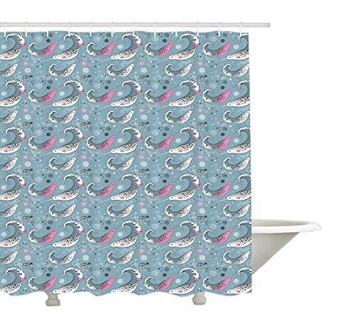 Yeuss unter dem Meer Duschvorhang, Ozean Fauna mit Narwhals und Outline-Stil Quallen in Wellen, Tuch Stoff Badezimmer Dekor Set mit Haken, Blau Rosa und Schwarz - Meer Duschvorhang-sets