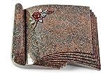 MEMORUM Grabmale Grabbuch, Grabplatte, Grabstein, Grabkissen, Urnengrabstein, Liegegrabstein Modell Prestige 40 x 30 x 8-9 cm Paradiso-Granit, Poliert inkl. Gravur (Bronze-Color-Ornament Rose 1)