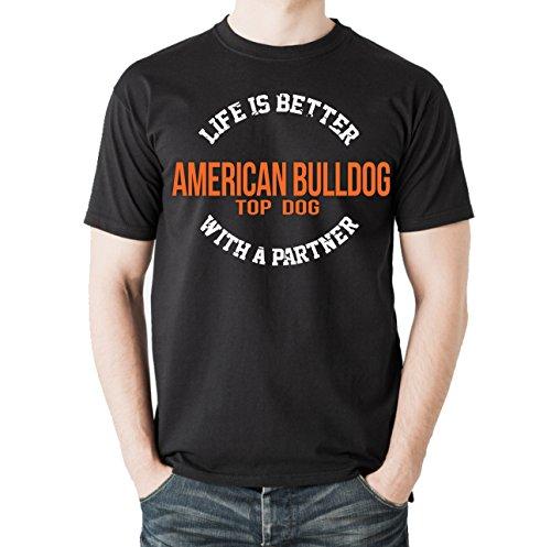 Siviwonder Unisex T-Shirt AMERICAN BULLDOG - LIFE IS BETTER PARTNER Hunde Schwarz