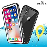 BDIG Coque Etanche iPhone X XS,  Transparent Full-Body Rugged Coque Etui Imperméable,Antipoussière,Antichoc Avec un écran Protecteur Portant Couverture Coque pour iPhone X iPhone XS (5.8', White)