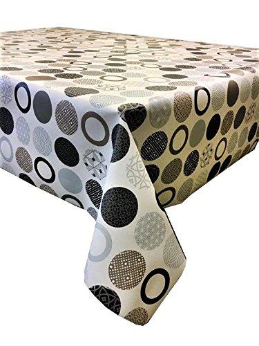 2metros (200cm x 137cm) mantel de vinilo, color marrón y beige Círculos con lunares y patrón geométrico. To Fit up a una mesa de 6plazas tamaño rectangular, limpiar, respaldo de tela (236)