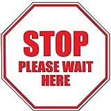 Stop Bitte warten hier Rot Antirutsch Boden Aufkleber Aufkleber 24 in longest side