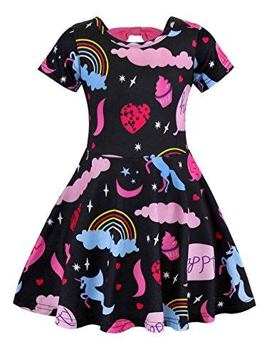 AmzBarley M?dchen Starry Einhorn Kleider zur¨¹ck Regenbogen Kleider f¨¹r Kinder Kleinkinder Einhorn Ankleiden 5-6 - Kleinkind Tanz-pullover