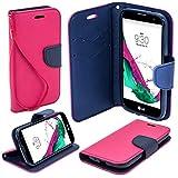 Etui bicolore Fancy Diary Book de Moozy avec support silicone & dragonne pour LG G4c / G4 Mini / H525N, Rose / Bleue
