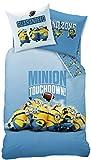 Wende Bettwäsche Set Minions, 135x200cm + 80x80cm, Linon, Touchdown Minion blau