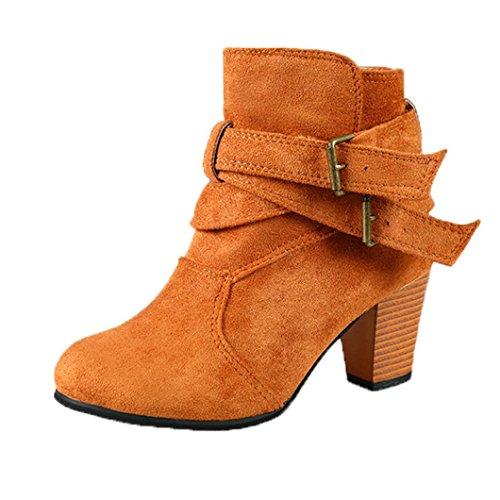 taottao Winter Frauen Hochhackige Martin Stiefel Schnalle Knöchel Stiefel niedrig Keil Schuhe Outdoor Beute STILVOLL und Street Snap Plattform Stiefel, braun, 35 (Schuh Trim Boot Schnalle)