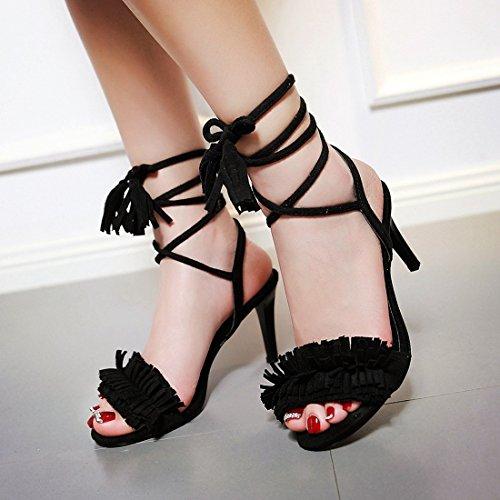 YE Damen Offene High Heels Stiletto Sandalen mit Schnürung und Fransen Schuhe Schwarz