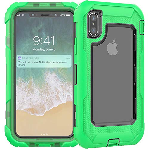 3C-LIFE iPhone XS Max Heavy Duty Case, Triple Protective Layer Full Body Shockproof Bumper Case with Swivel Belt Clip and Kickstand für (Green) Cellular Connection Interface