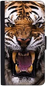 Snoogg Angey Tiger Graphic Snap On Hard Back Leather + Pc Flip Cover Htc M9