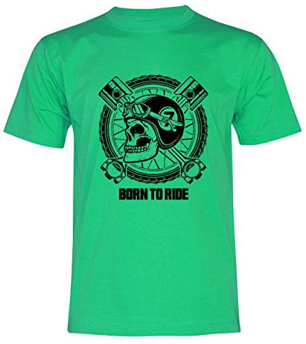 PALLAS Unisex's Motorcycle Club Vintage Born to Ride T Shirt Green
