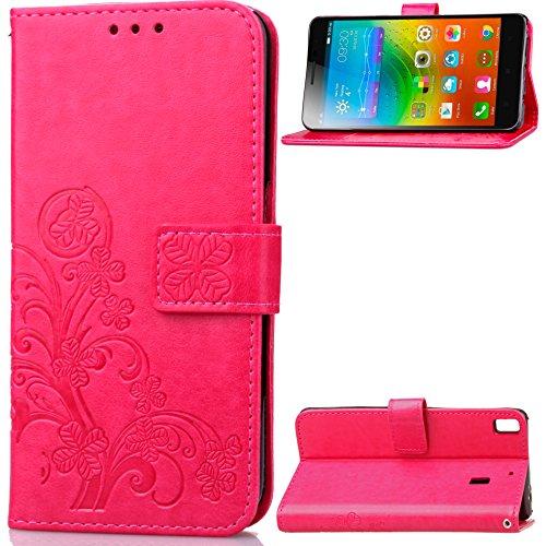 Qiaogle Teléfono Case - Funda de PU Cuero Billetera Clamshell Carcasa Cover para Lenovo K3 Note / K50-t5 4G LTE / A7000 (5.5 Pulgadas) - SD01 / Rojo Lucky Clover