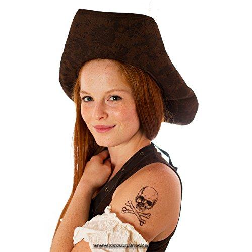 5 x Totenkopf Tattoo - Totenkopf mit Knochen Tattoo - Skull & Bones Tattoo (5) (Die Trockenen Knochen Kostüm)
