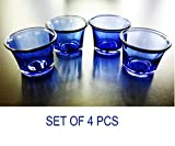 #8: Ascent Homes Glass Tea Light Candle Holder (Blue) - Set of 4