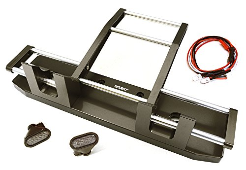Integy RC Model Hop-ups C27117GUN CNC Alloy Front Bumper w/ LED for Tamiya 1/14 King Hauler & Globe Liner