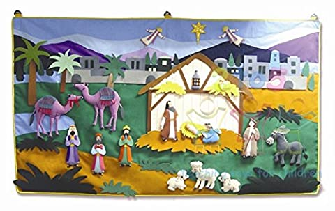 Deluxe Giant Nativity Wall Hanging 105cm x 85cm with 42