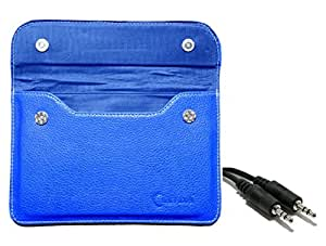 Chevron Pouch Cover Case for Huawei MediaPad 7 Youth2 Tablet with Aux Cable - Blue