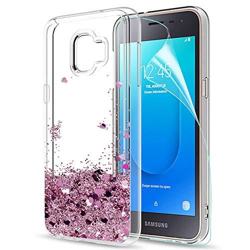 LeYi Hülle Galaxy J2 Core Glitzer Handyhülle mit HD Folie Schutzfolie,Cover TPU Bumper Silikon Flüssigkeit Treibsand Clear Schutzhülle für Case Samsung Galaxy J2 Core Handy Hüllen ZX Rot Rosegold