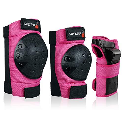 NAVESTAR Protektoren Set reg; Schoner Set für Kinder und Erwachsene, Schutzausrüstung Set mit 2 Kniepolster, 2 Ellbogenpolster, 2 Handgelenkpolster, Rosa (Erwachsene)