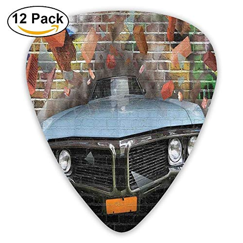 Graffiti Featured Graphic Of Crashing Automobile On A Brick Wall Underground Street Style Guitar Picks 12/Pack Set - Graphics Brick Wall