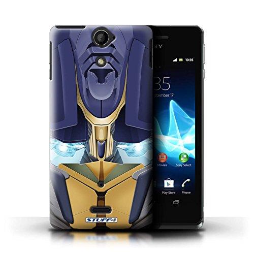Kobalt® Imprimé Etui / Coque pour Sony Xperia V/LT25i / Opta-Bot Bleu conception / Série Robots Opta-Bot Jaune