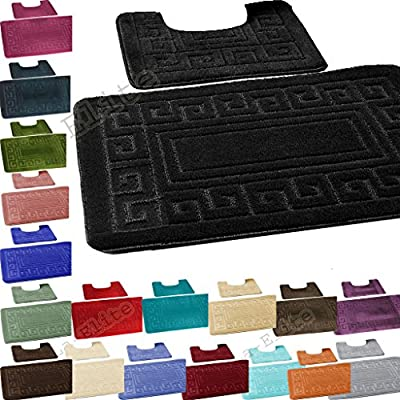 Bath Mat Set 2 Piece Non Slip Rubber Pedestal and Bath Mat Set Toilet Greek Bathroom Rug New - cheap UK light shop.