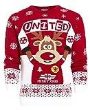 neu Herren Weihnachtself Weihnachts Pullover Größe s M L XL - Rot Weiß Vereint, X-Large