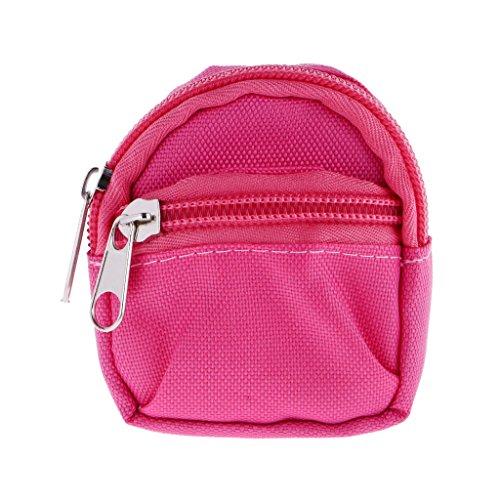 Sharplace Miniatur Puppen Rucksack Schultasche mit Reißverschluss aus Segeltuchr Für 1/6 Puppen- 7 x 2,5 x 8,5 cm - Rosa