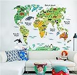 CHARLLEAN Wandsticker Weltkarte Kinder | Wallpark Kinder Kids Pädagogisch Karikatur Tier Weltkarte Abnehmbare Wandsticker Wandtattoo| von Pädagogen gemeinsam mit Müttern entwickelt| DIY Kunst