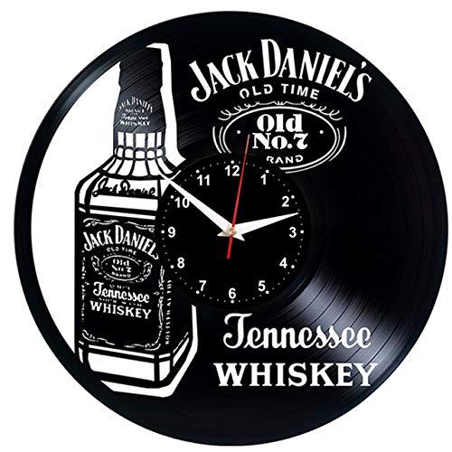 EVEVO Jack Daniel'S Old Wanduhr Vinyl Schallplatte Retro-Uhr groß Uhren Style Raum Home Dekorationen Tolles Geschenk Wanduhr Jack Daniel'S Old Uhr Jack