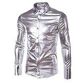 BEIXUNDIANZI Mode Hommes Schlank Button Manches Longues Chemises Herrenmode Bronzing Bling Glänzend Schlank Langarm Businesshemd Tops White M