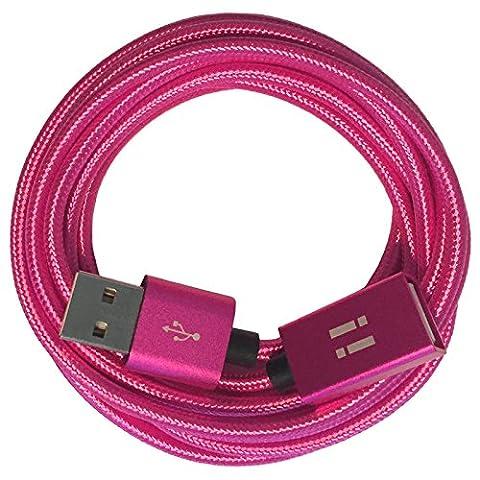 [i!®] 1m Premium Nylon USB Verlängerung Verlängerungskabel | A-Stecker auf A-Buchse | pink rosa