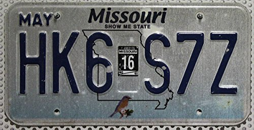 USA Nummernschild MISSOURI ~ US Kennzeichen VOGEL Bluebird Motiv ~ Blechschild (Missouri Plate License)