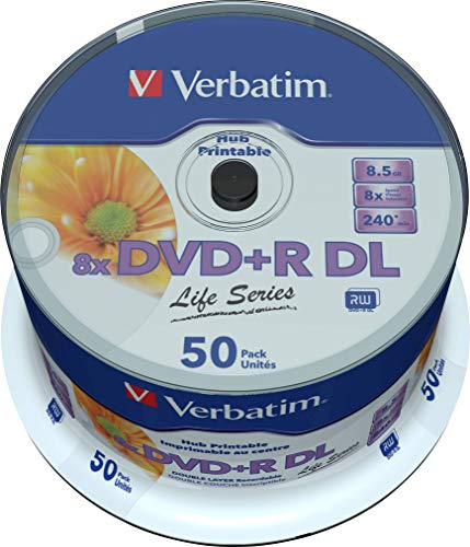 Verbatim DVD Double Layer DVD+R DL 8.5 GB / 240 min 8x, Full printable White No ID, 50 Stück in Cakebox