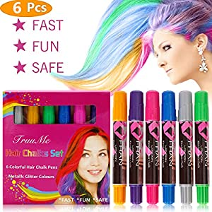Hair Chalk, Hair Chalks for Girls, Temporary Hair Color, Hair Chalk for Kids, 6 Colorful Hair Chalk Pens, Metallic Glitter Temporary hair chalk set, Washable Hair Color Safe For Kids And Teen Halloween Christmas party